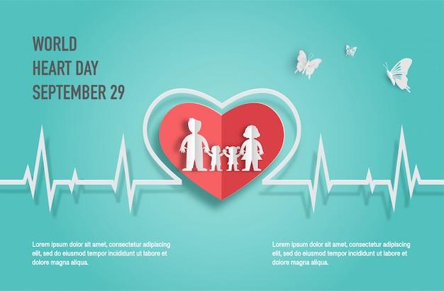 Conceito do dia do coração do mundo, família feliz com linha da pulsação do coração.