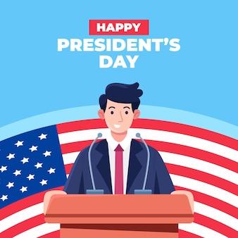 Conceito do dia do presidente em design plano