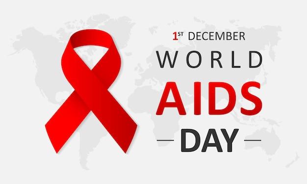 Conceito do dia mundial da aids de 1º de dezembro com texto e fita vermelha de conscientização sobre a aids