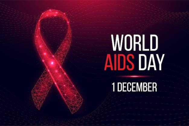 Conceito do dia mundial da aids. modelo de banner com consciência de fita vermelha. ilustração vetorial.
