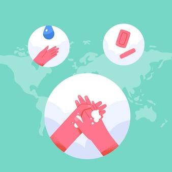 Conceito do dia mundial da lavagem das mãos em design plano Vetor Premium