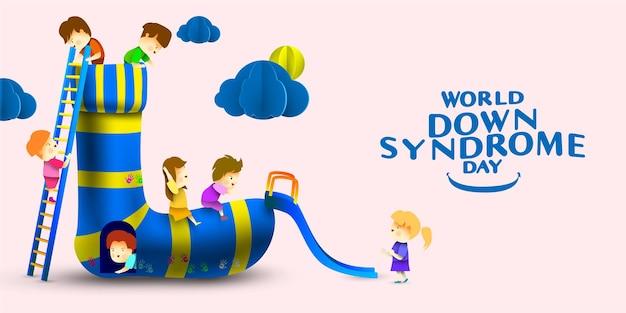 Conceito do dia mundial da síndrome de down com crianças brincando no parquinho de meias juntas