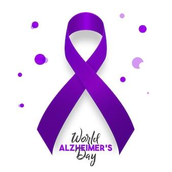 Conceito do dia mundial de alzheimer. modelo de banner com fita roxa e ilustração vetorial de texto