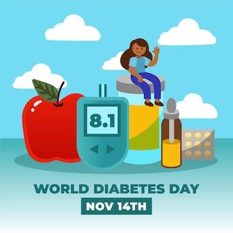 Conceito do dia mundial do diabetes em design plano
