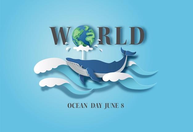 Conceito do dia mundial dos oceanos, a baleia azul espirrando água