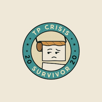 Conceito do emblema do sobrevivente da crise do papel higiênico 2020