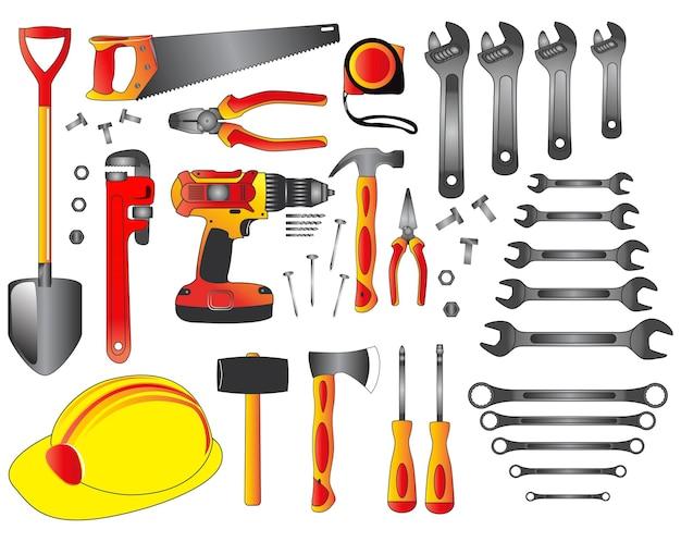 Conceito do faça você mesmo ou conjunto de ferramentas manuais de vetor de eps