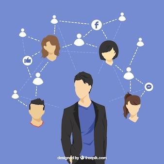 Conceito do facebook com avatares