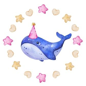 Conceito do logotipo da baleia com tinta aquarela