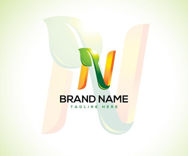 Conceito do logotipo da folha e da letra inicial n
