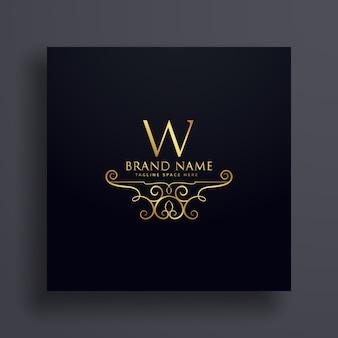 Conceito do logotipo da letra w com decoração floral