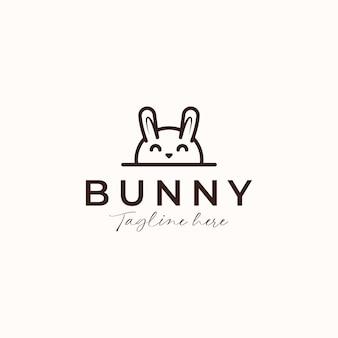 Conceito do logotipo da monoline do coelho coelhinho isolado no fundo branco