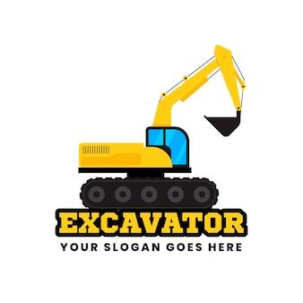 Conceito do logotipo de escavadeira