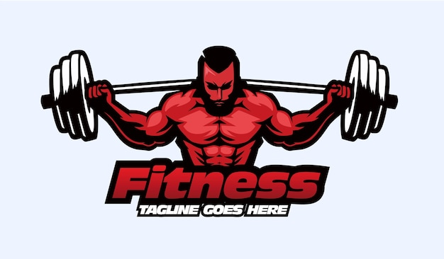 Conceito do logotipo do mascote fitnes