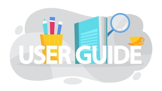 Conceito do manual do usuário. livro guia ou instrução