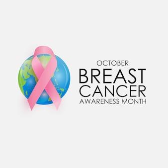 Conceito do mês da conscientização do câncer da mama de outubro. sinal de fita rosa