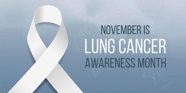 Conceito do mês de conscientização do câncer de pulmão. modelo de banner com consciência de fita branca. isolado em fundo escuro. ilustração vetorial.