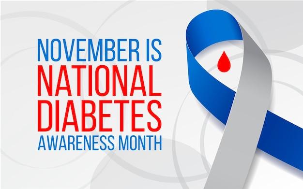Conceito do mês nacional de conscientização sobre o diabetes. modelo de banner com fita azul e cinza. ilustração vetorial.