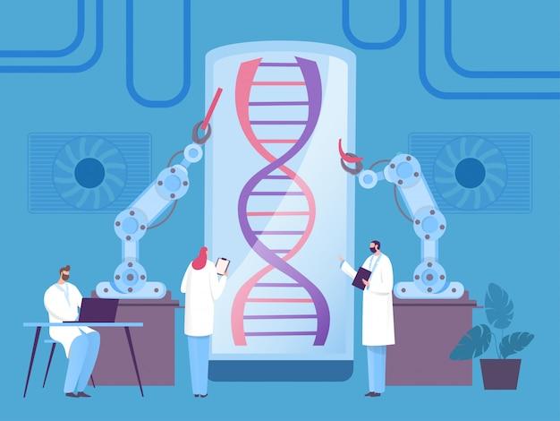 Conceito do robô da pesquisa do adn, experiência biológica moderna, ilustração. homem e mulher, cientista examinam parte do organismo.