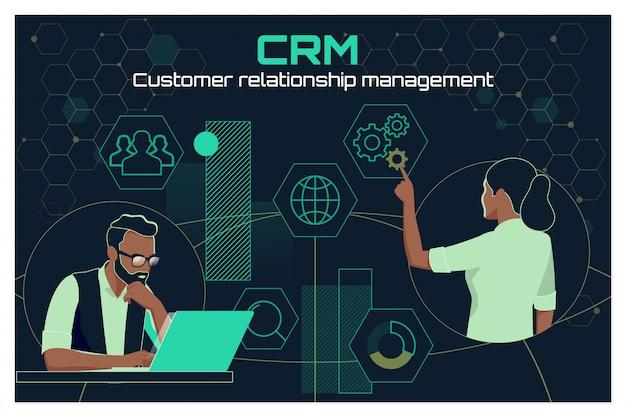 Conceito do serviço de análise de gestão de crm do cliente comercial