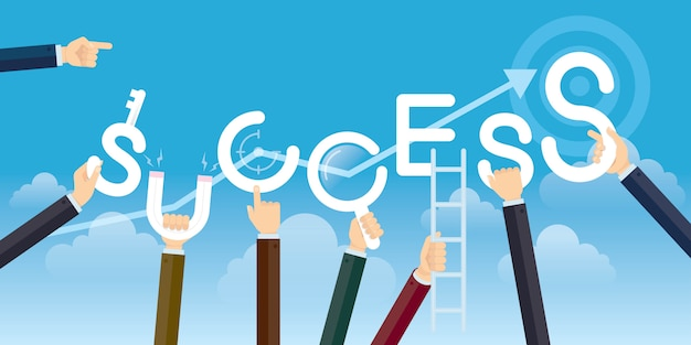 Conceito do sucesso, mãos que guardam o sucesso da palavra, ilustração do vetor lisa.