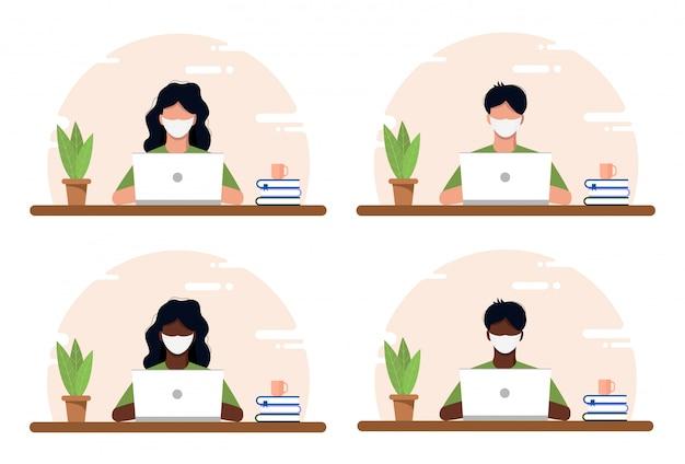 Conceito do trabalho em casa, ilustração plana do espaço de coworking. jovens mascarados, homens e mulheres, freelancers trabalhando em casa. escritório em casa na crise covid-19. ilustração independente de estilo simples.