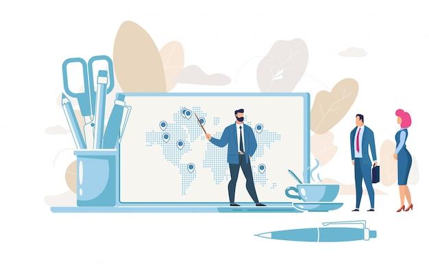 Conceito do vetor da estratégia do crescimento da empresa planeando