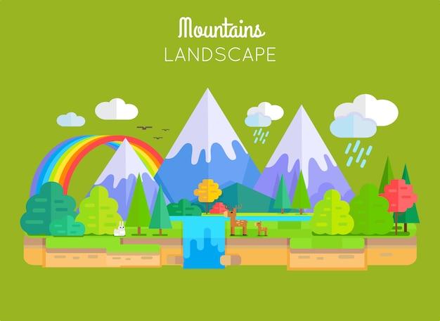 Conceito do vetor da paisagem das montanhas no projeto liso.