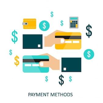 Conceito do vetor de métodos de pagamento em estilo plano