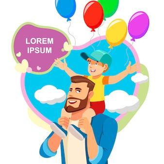 Conceito do vetor dos desenhos animados da celebração do dia de pais