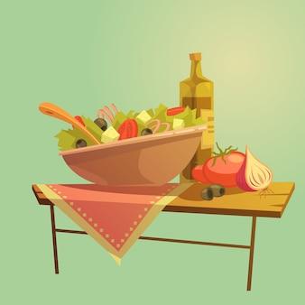 Conceito dos desenhos animados da salada