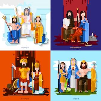 Conceito dos desenhos animados dos deuses olímpicos