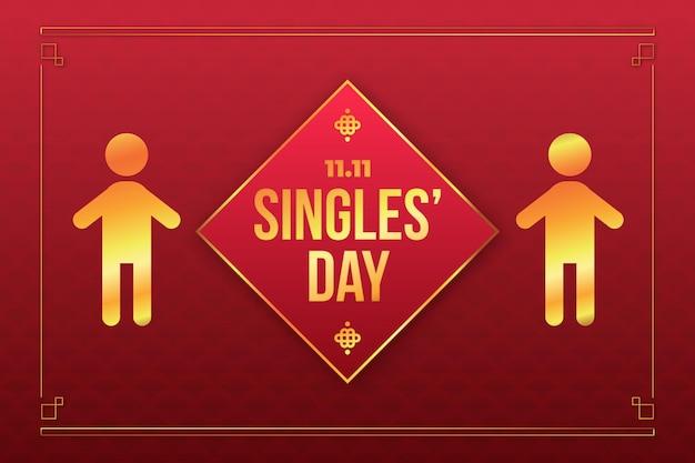 Conceito dourado do dia de solteiros