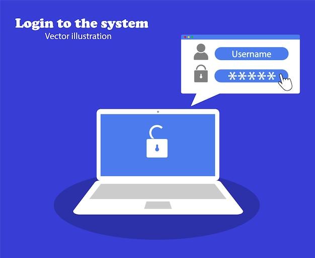 Conceito e autorização do laptop. faça login no sistema. login e senha.