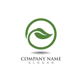 Conceito ecológico de design de logotipo em folha de árvore