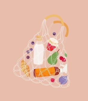 Conceito ecológico saco de compras de redes de algodão com alimentos saco de compras de cordões com produtos da loja