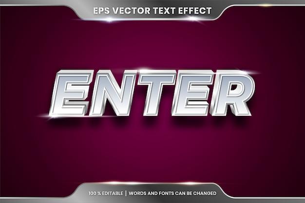 Conceito editável de efeito de texto prateado