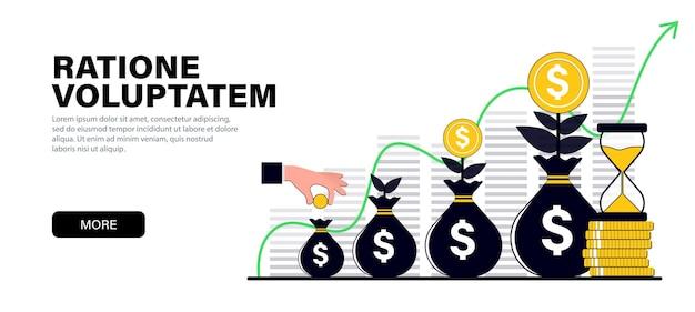 Conceito em cores pretas planas modernas sobre o tema crescimento de capital investimentos financeiros