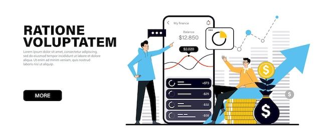 Conceito em cores pretas planas modernas sobre o tema pagamento por meio de investimento online em smartphone