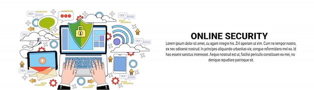Conceito em linha da tecnologia da proteção de dados do molde da bandeira da web da segurança