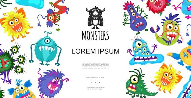 Conceito engraçado de monstros coloridos fofos em estilo cartoon na ilustração de fundo branco