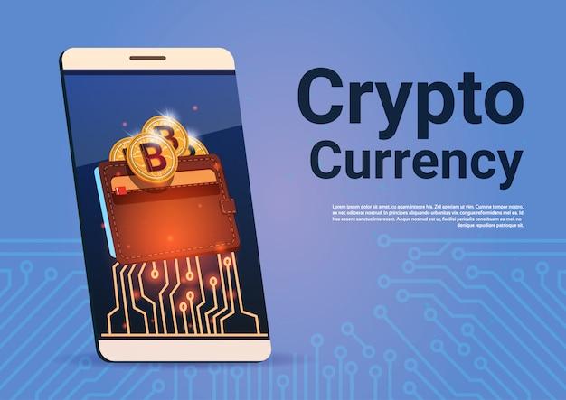 Conceito esperto do dinheiro da web de digitas da carteira de bitcoin do telefone da bandeira da moeda do cripto