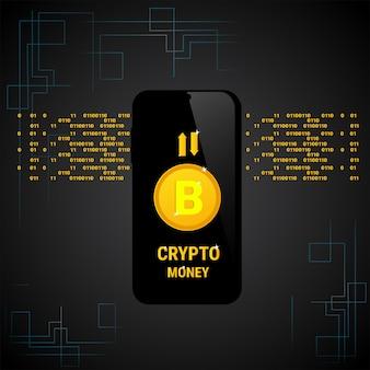 Conceito esperto do dinheiro da web de digitas do telefone da bandeira de bitcoin da moeda do cripto