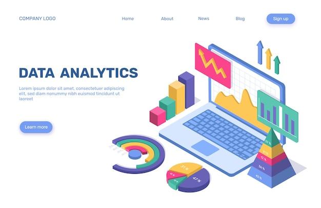 Conceito estatístico de negócios isométrico da página de destino da análise de dados