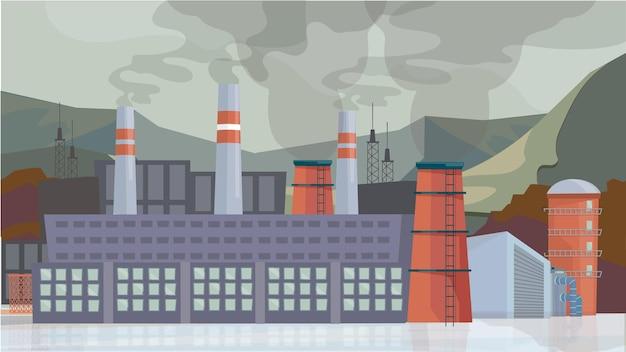 Conceito exterior de fábrica industrial em design plano de desenho animado. construção de instalações com tubos, emissões tóxicas da produção e fumos, arquitetura industrial. fundo horizontal da ilustração vetorial