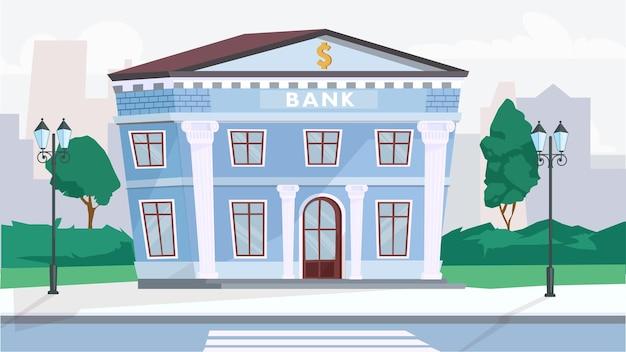 Conceito exterior do edifício do banco em design plano dos desenhos animados. escritório financeiro no edifício da coluna em arquitetura clássica, rua da cidade com lanternas e árvores. fundo horizontal da ilustração vetorial