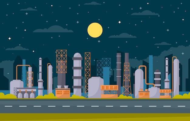 Conceito fábrica industrial fabricação instalações instalações área paisagem ilustração plana