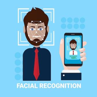 Conceito facial do reconhecimento da mão que guarda a exploração de smartphone do conceito masculino da tecnologia do acesso da varredura da biometria da cara