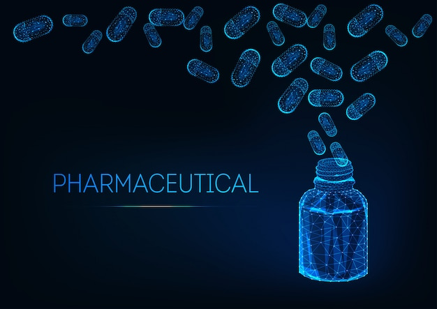 Conceito farmacêutico futurista com frasco de medicamento e comprimidos cápsula