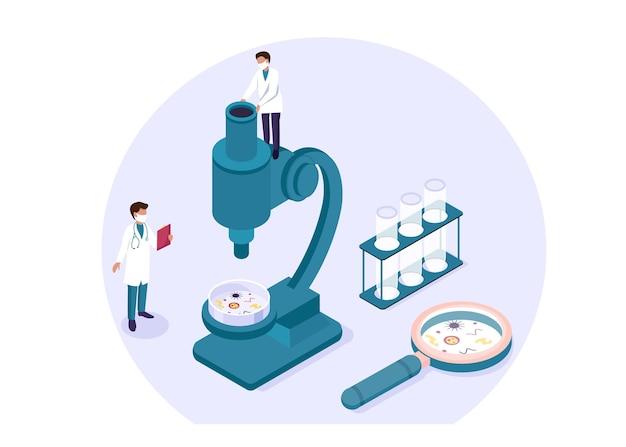 Conceito farmacêutico químico da pesquisa de experimento de laboratório científico isométrico. cientistas, laboratório, pesquisa, ciência